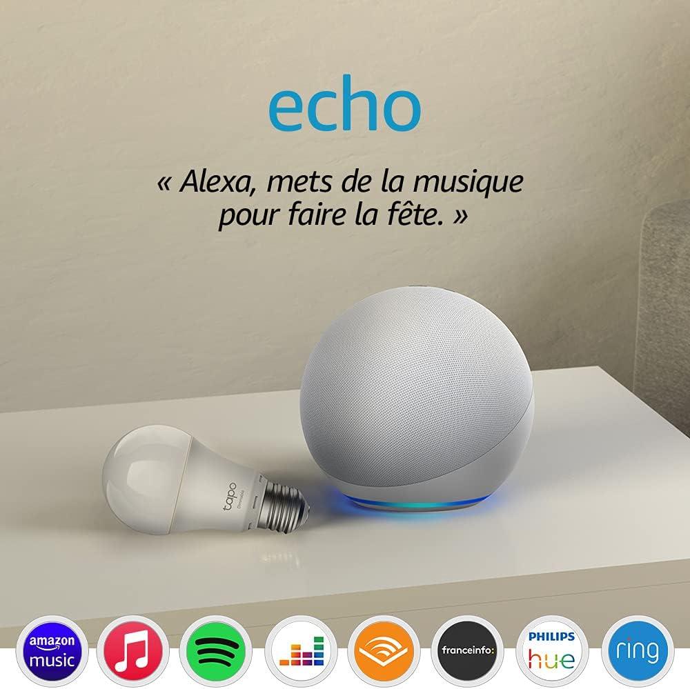 Echo (4e génération), Blanc + Ampoule Connectée TP-Link Tapo (E27), Fonctionne avec...