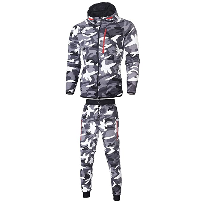 2018 Wintialy Mens Autumn Winter Camouflage Sweatshirt Top Pants Sets Sports Suit Tracksuit