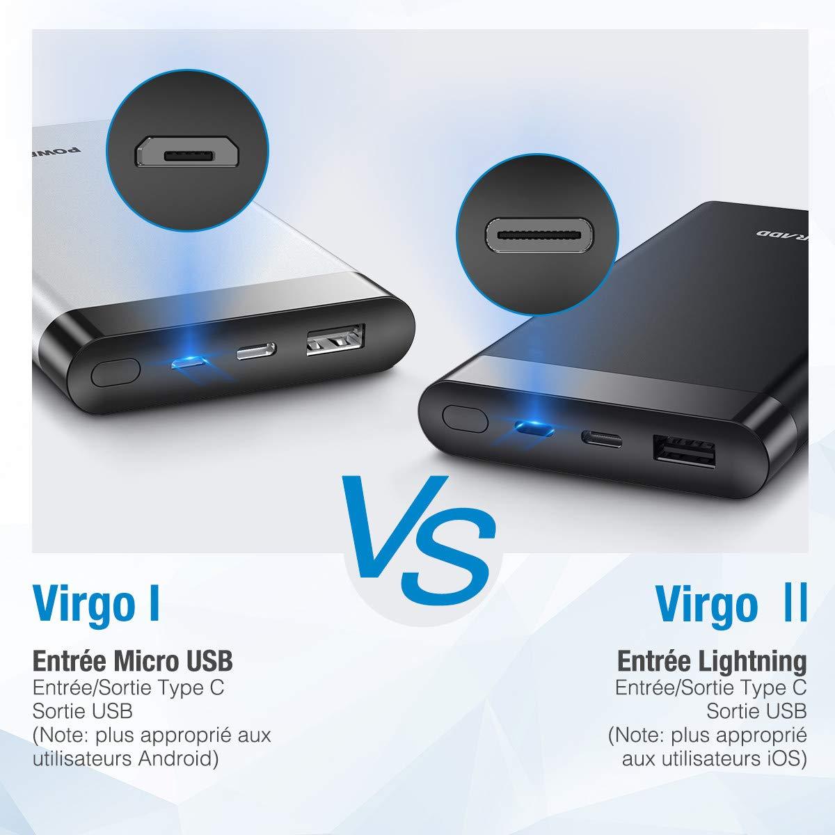 POWERADD Batterie Externe pour iPhone avec Charge d'Entrée Lightning et Type C et 2 Sortie de USB et C (3.1A+3.1A) - Noir