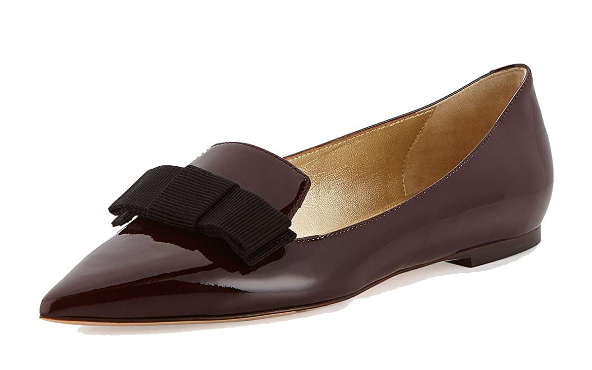 DYF Frauen Nackt Schuhe Farbe Scharfe Größe Scharfe Farbe Flache Unterseite Flach Mund Braun 38 f3653e