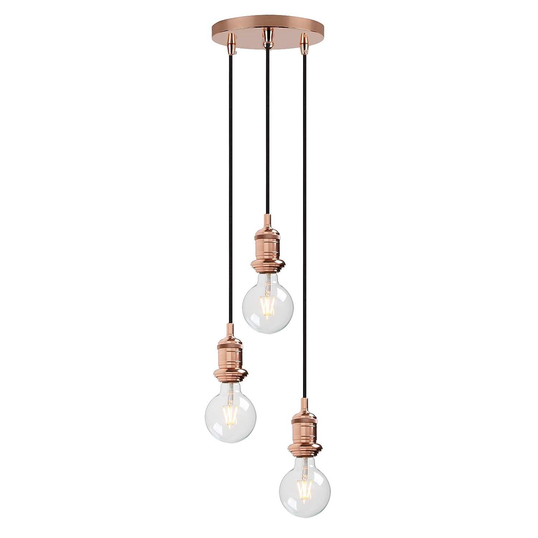 Yosoan lighting industrial cluster 3 way pendant light fittings loft bar triple hanging pendant ceiling lights for kitchen island living room bedroom