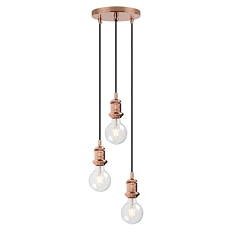 pretty nice faf3f d9e17 Yosoan Lighting Industrial Cluster 3 Way Pendant Light Fittings, Loft Bar  Triple Hanging Pendant Ceiling Lights for Kitchen Island Living Room  Bedroom ...