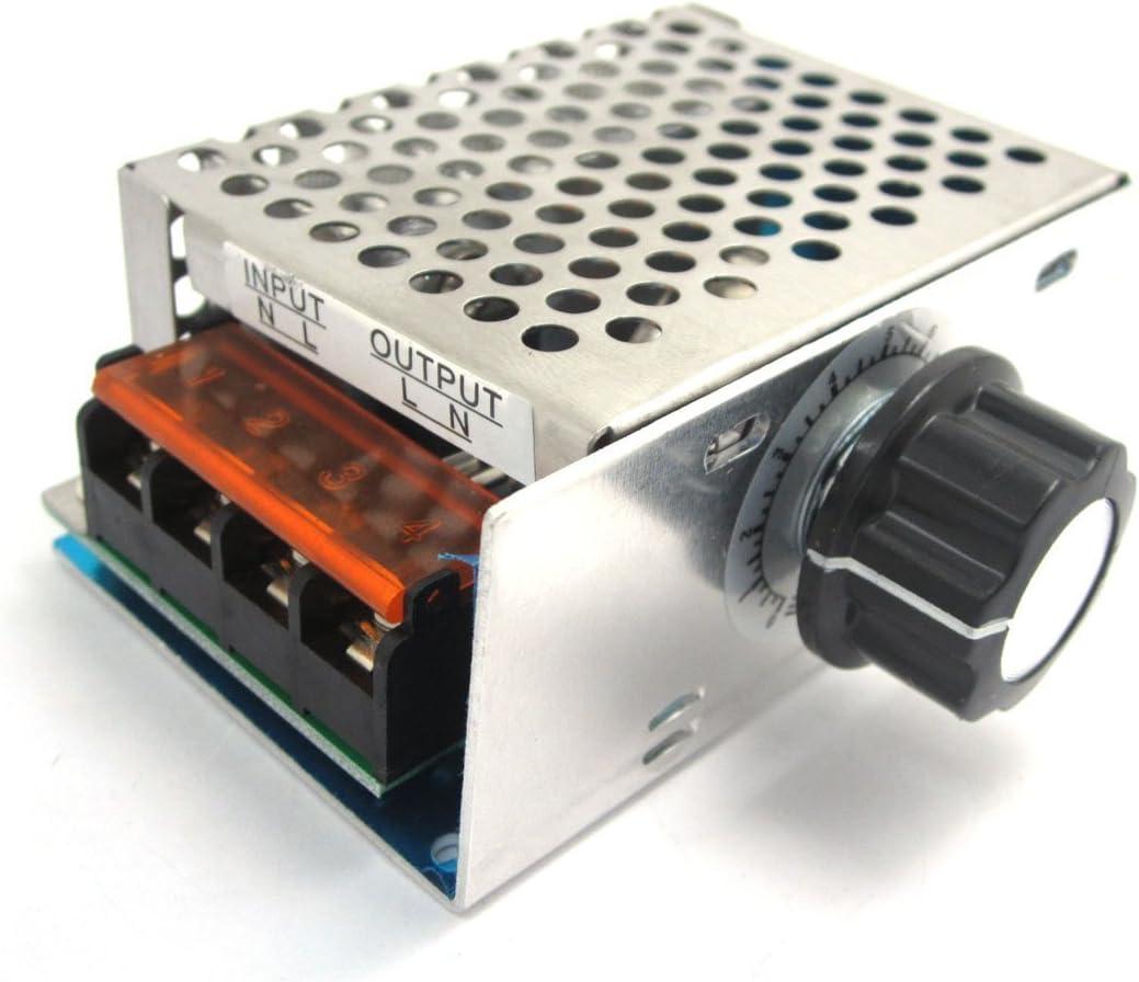 DollaTek Termostato regulador de la Velocidad de atenuación de CA 220V 4000W de Alta Potencia SCR Regulador de Voltaje electrónico gobernador: Amazon.es: Electrónica