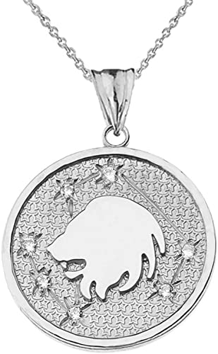 Solid Yellow 10K Gold  Diamond Cut Bison  Pendant Necklace