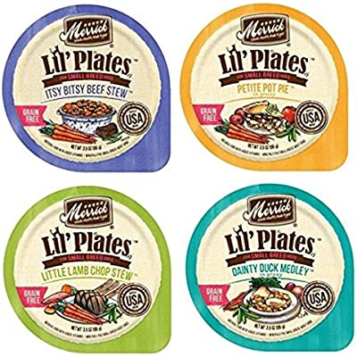 Merrick Lil' Plates Grain Free Small Breed Dog Food 4 Flavor Variety 8 Can Bundle: (2) Itsy Bisty Beef Stew, (2) Petite Pot Pie, (2) Little Lamb Chop Stew, (2) Dainty Duck Medley, 3.5 Oz Ea (8 Cans)