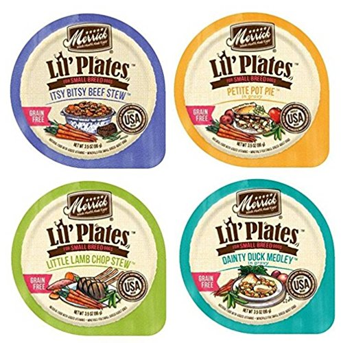 (Merrick Lil' Plates Grain Free Small Breed Dog Food 4 Flavor Variety 8 Can Bundle: (2) Itsy Bisty Beef Stew, (2) Petite Pot Pie, (2) Little Lamb Chop Stew, (2) Dainty Duck Medley, 3.5 Oz Ea (8 Cans))