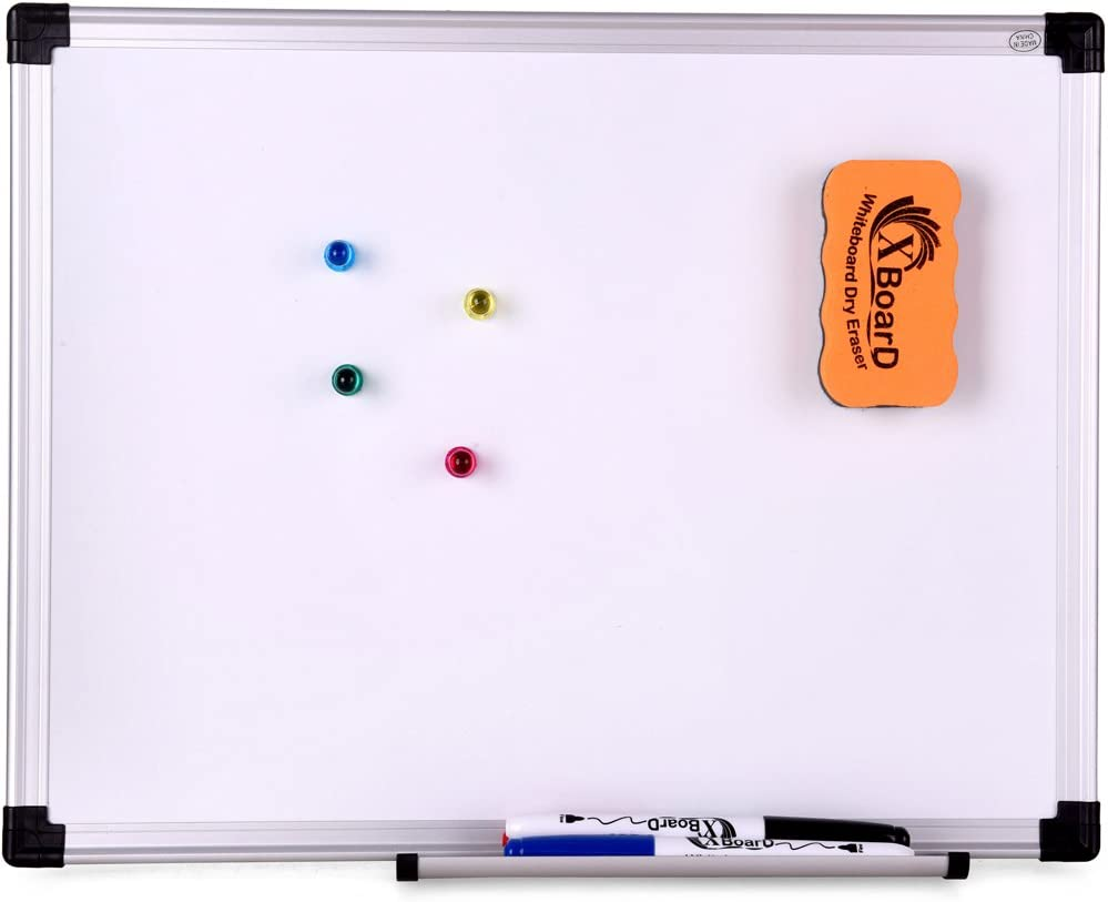 XBoard Double-Sided Magnetic Whiteboard Set, 15 x 12-Inch, Dry Erase Board with 1 Magnetic Dry Eraser, 3 Dry Erase Markers and 4 Push Pin Magnets