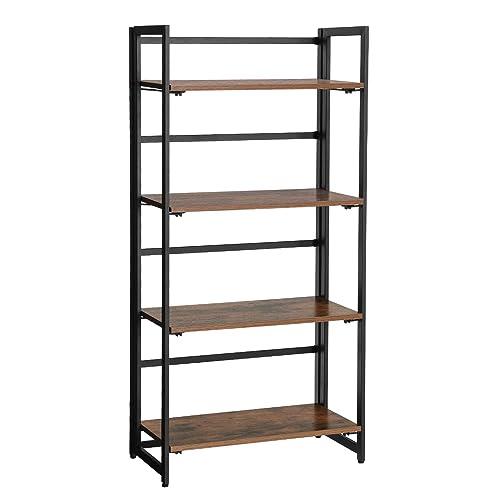 SONGMICS Vintage Bookshelf 4 Tier Portable Ladder Shelf Folding Bookcase Wood Look