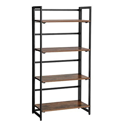 SONGMICS Vintage Bookshelf 4 Tier Portable Ladder Shelf Folding Bookcase Wood Look