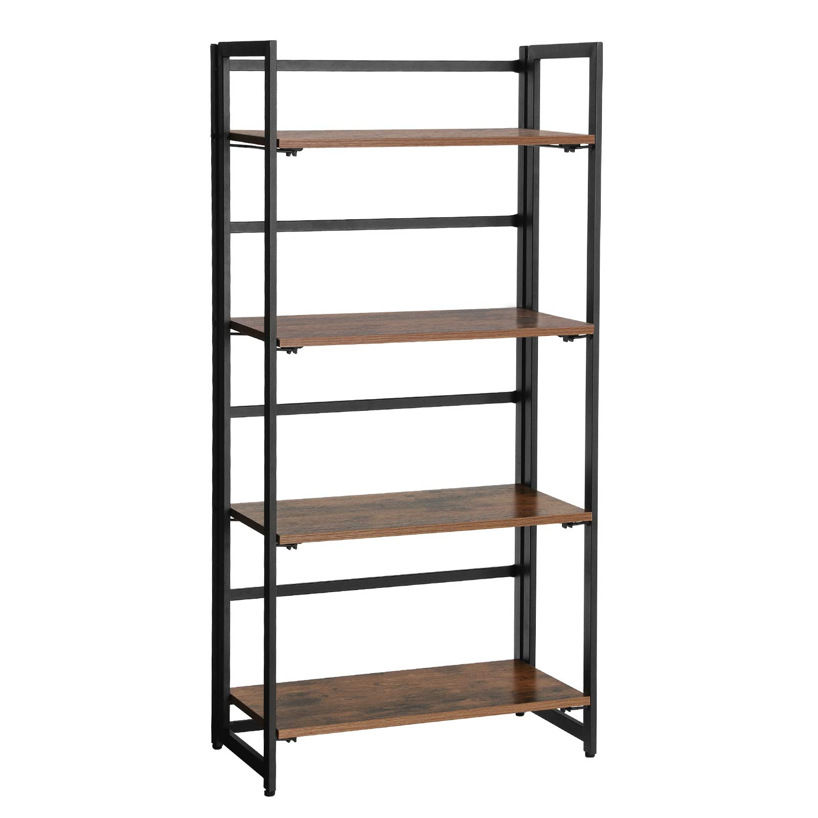 SONGMICS Vintage Bookshelf, 4-Tier Portable Ladder Shelf, Folding Bookcase, Wood Look Accent Furniture with Metal Frame, for Home Office Sturdy and Stable ULLS88X