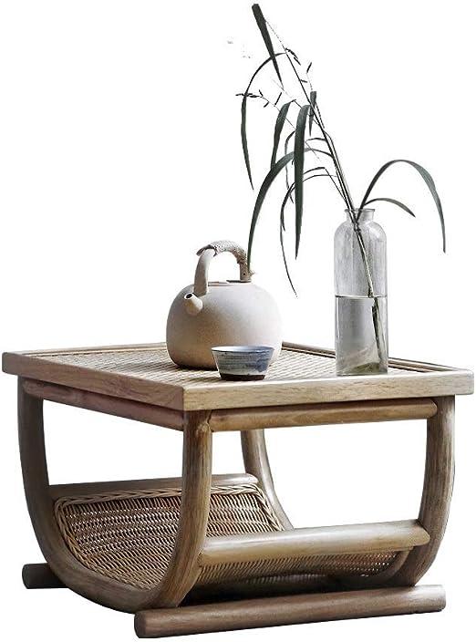 Las mesas de Centro Antiguo de Paja té Tami Baja Dormitorio ágata Rattan Jardín Antiguo pequeña Ventana de bambú Muebles Sencillos de la Vid (Color : Khaki, Size : 60 ...