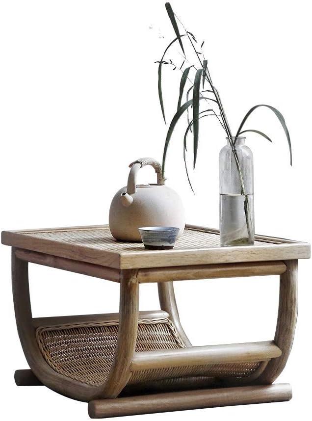 Las mesas de Centro Antiguo de Paja té Tami Baja Dormitorio ágata Rattan Jardín Antiguo pequeña Ventana de bambú Muebles Sencillos de la Vid (Color : Khaki, Size : 60 * 40 * 32cm): Amazon.es: Hogar