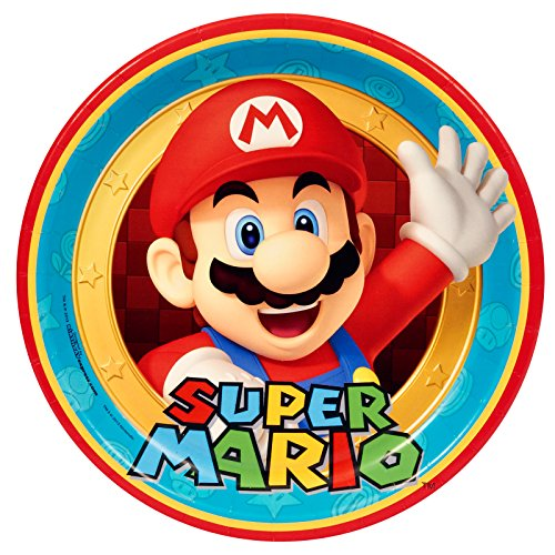 Super Mario Plates (Super Mario Party Birthday Supplies 48 Pack Lunch)