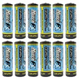 (12-Pack) HyperPS 3.2V LiFePo4 14430 4/5 AA (14 x 43mm) 400mAh Rechargeable Battery for Solar Panel Light, Tooth Brush, Shaver, Flashlight