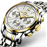 L& H Jewelry Mens Watch Multi Function Water Resistant Quartz Movement Analog Watch Noctilucent 6 Hands Wrist Watch (036 (White + Gold))