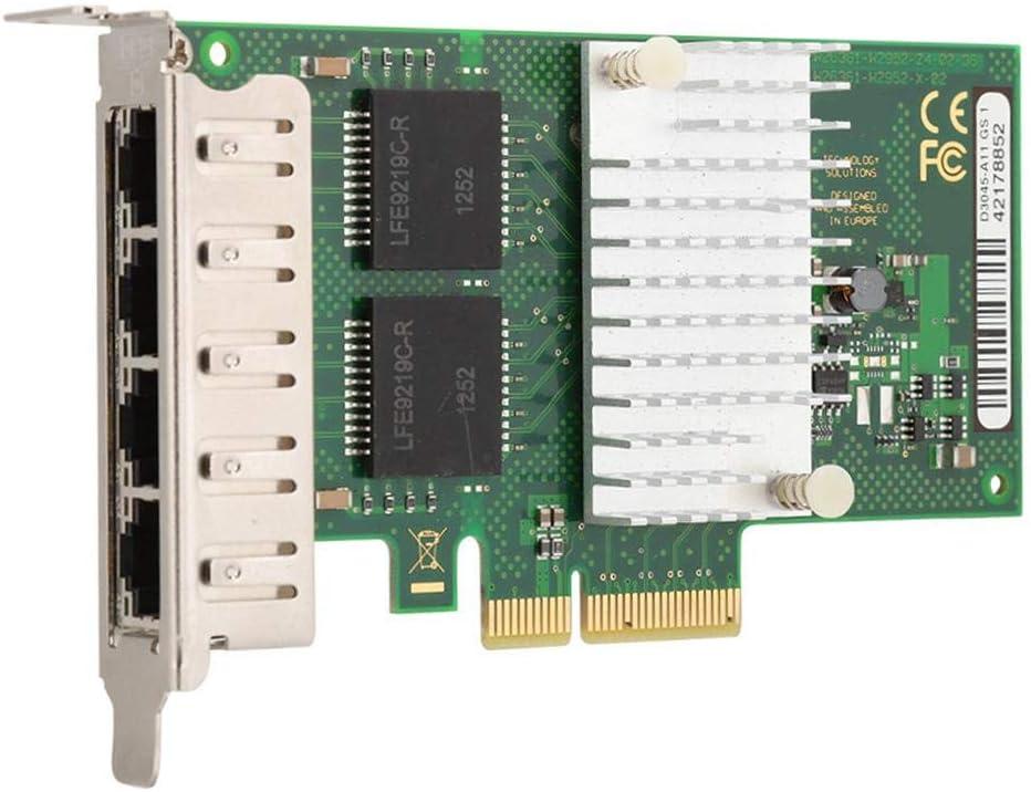 Half Height Baffle Diyeeni I350-T4 10//100//1000Mbps Gigabit Ethernet Network Card,4 Port Quad Port 1000M Gigabit Ethernet Network Server Adapter For Intel I350AM4 Chip PCI-E