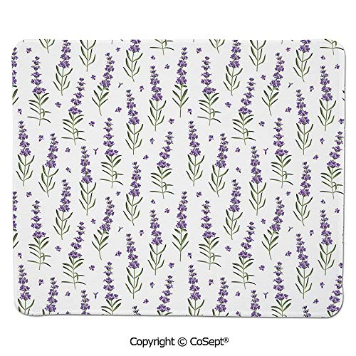 Premium-Textured Mouse pad,Nature Pattern with Delicate Lavender Twigs Fresh Organic Plants Herb,for Computer,Laptop,Home,Office & Travel(15.74