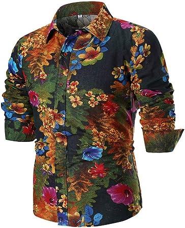 HhGold Camisa Hawaiana para Hombre Top de Manga Larga Casual Slim Fit Personalizado Negro Floral 3D Modelo Africano Botón de algodón con Cuello en V Polo Polo Blusa XXL XXXL XXXXL: Amazon.es: