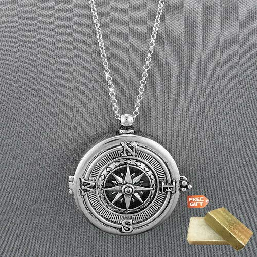 Pendant Chain Cotton Silver Boxes - Long Silver Chain Unique Compass Magnifying Glass Pendant Necklace Set For Women + Gold Cotton Filled Gift Box for Free