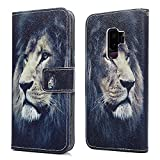 Samsung Galaxy S9 Plus Wallet Case, Premium Soft PU Leather Notebook Wallet Case with Kickstand Function Card Holder and ID Slot Slim Flip Protective Skin Cover for Samsung Galaxy S9 Plus - Lion