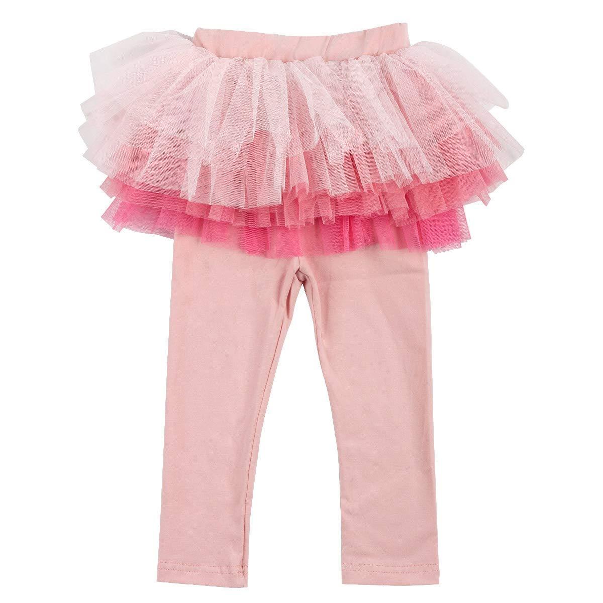 ef6f253dee60a ZIYOYOR Kids Girls Elastic Waist Fleece Lined Leggings with Ruffle Tutu  Skirt product image