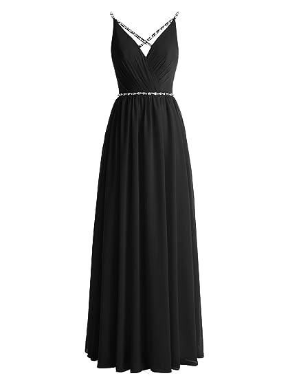 Gardenwed Chic Beaded Straps Chiffon Long Bridesmaid Dress Simple Prom  Dress Black Size 2 b3a5d994a
