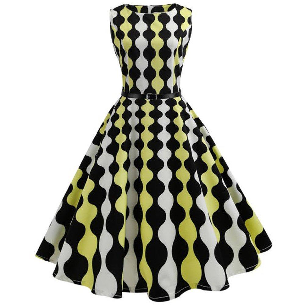 Italily -Abito vintage con stampa floreale Hepburn Vestito da Swing di promenade del partito di sera casuale senza maniche aderente di stampa dell'annata delle donne Italily-72