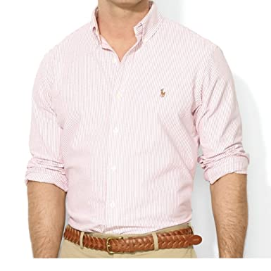 f5e553ed53 RALPH LAUREN Polo Men's Stretch Slim Fit Striped Long Sleeve Button Down  Oxford Shirt (XX-Large, Pink/White) at Amazon Men's Clothing store: