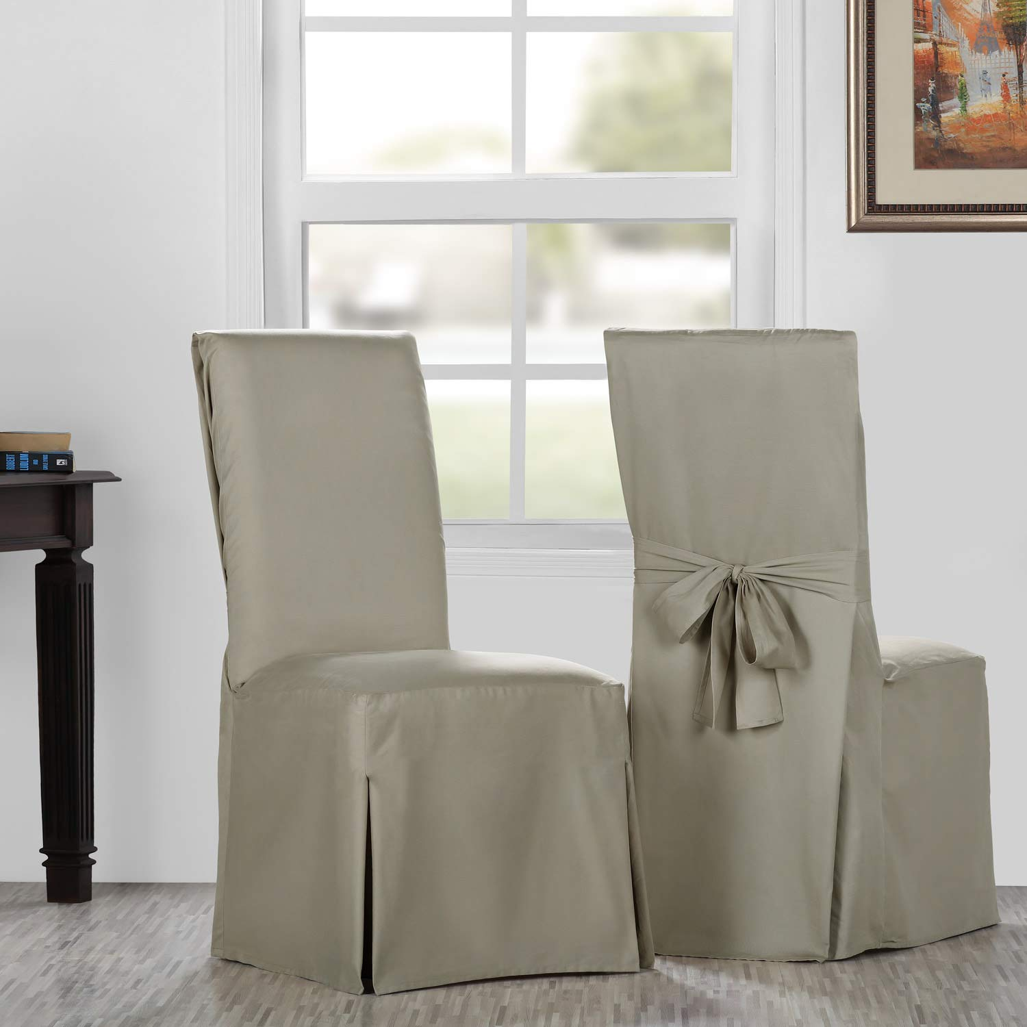 HPD Half Price Drapes PRCT-LS09-CC-L-PR Solid Cotton Twill Chair Covers (Sold As Pair), Sandstone