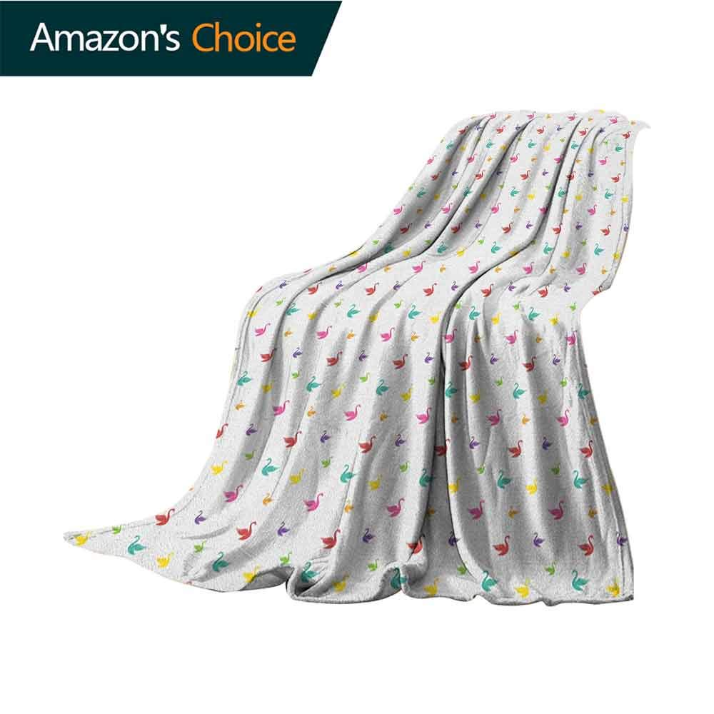 Swan Throw Blanket for Couch,Rainbow Colored Cute Swans Pattern Birds Wings Themed Nursery Kids Artistic Print Velvet Plush Throw Blanket,50'' Wx70 L Multicolor