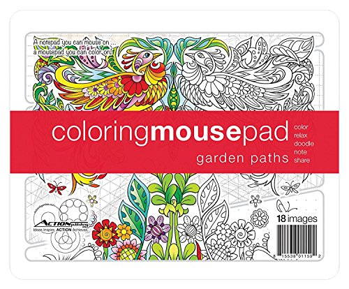 (Action Coloring Mousepad Garden Paths Pages for Notes and Coloring with Illustrations by Kathryn Marlin)