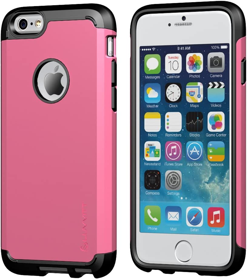 iPhone 6s Plus Case, LUVVITT [Ultra Armor] Shock Absorbing Case Best Heavy Duty Dual Layer Tough Cover for Apple iPhone 6/6s Plus - Black/Pink