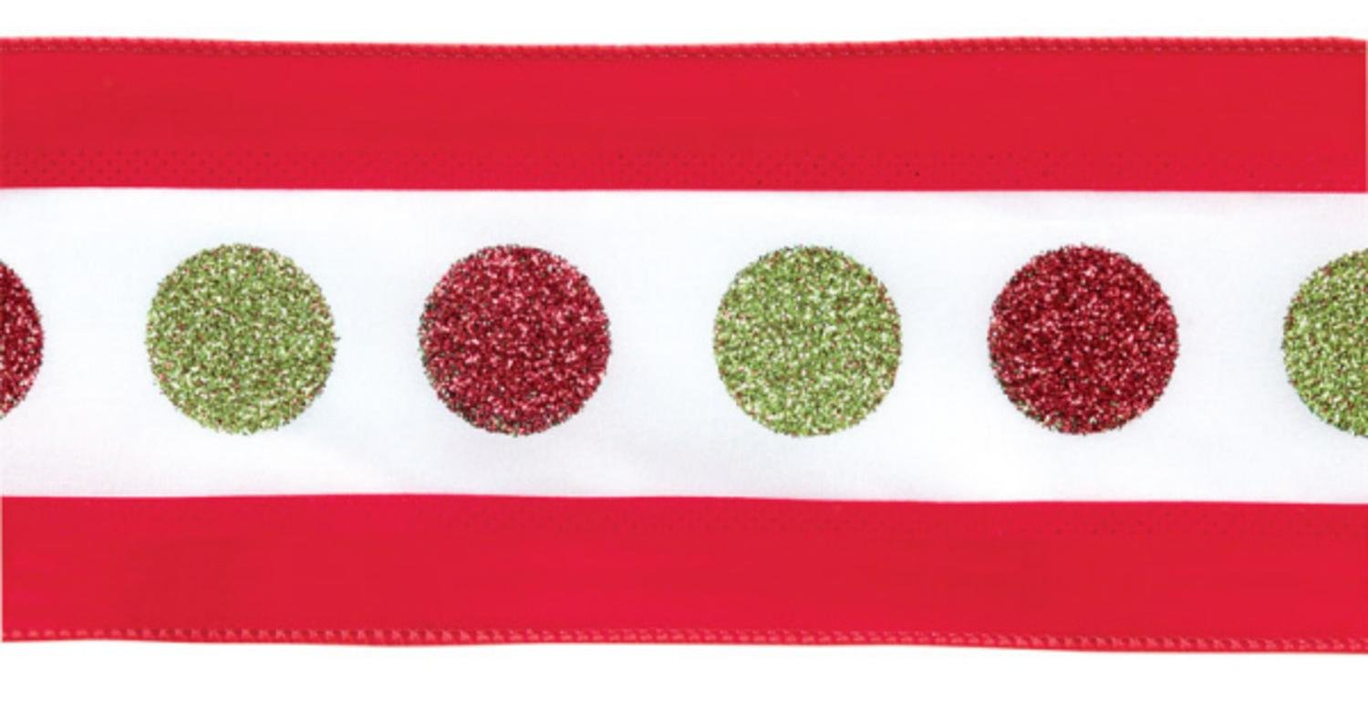 Pack of 4 Red and Green Sparkling Polka Dot Wired Christmas Ribbon 4'' x 40 Yards by Melrose