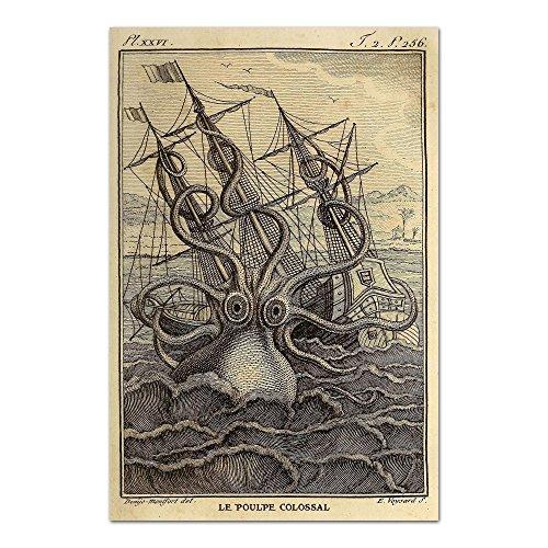 Octopus Print of A Kraken Octopus Attacking A Merchant Ship in Vintage Finish, Octopus Poster -