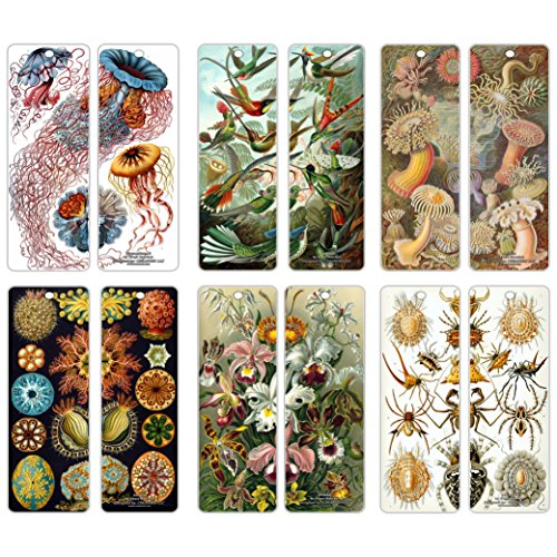 - Creanoso Beautiful Bookmarks Cards (30-Pack) - Ernst Haeckel Print Drawings - Cool Room Decal Wall Decor - Stocking Stuffers Gifts for Men Women Teens Kids