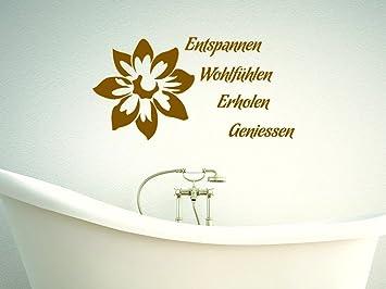 Wandtattoo Spruch Entspannung mit Blüte für Badezimmer Deko fürs Bad ...