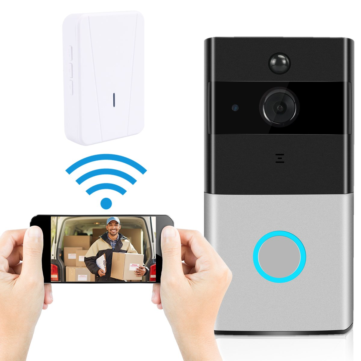 Video Doorbell, Ustyle Wireless Door Bell Smart WiFi Camera Video Doorbell Security Camera with Motion Detection 720P HD, Real-Time Two-Way Talk and Video, Night Vision (With Indoor Chime )