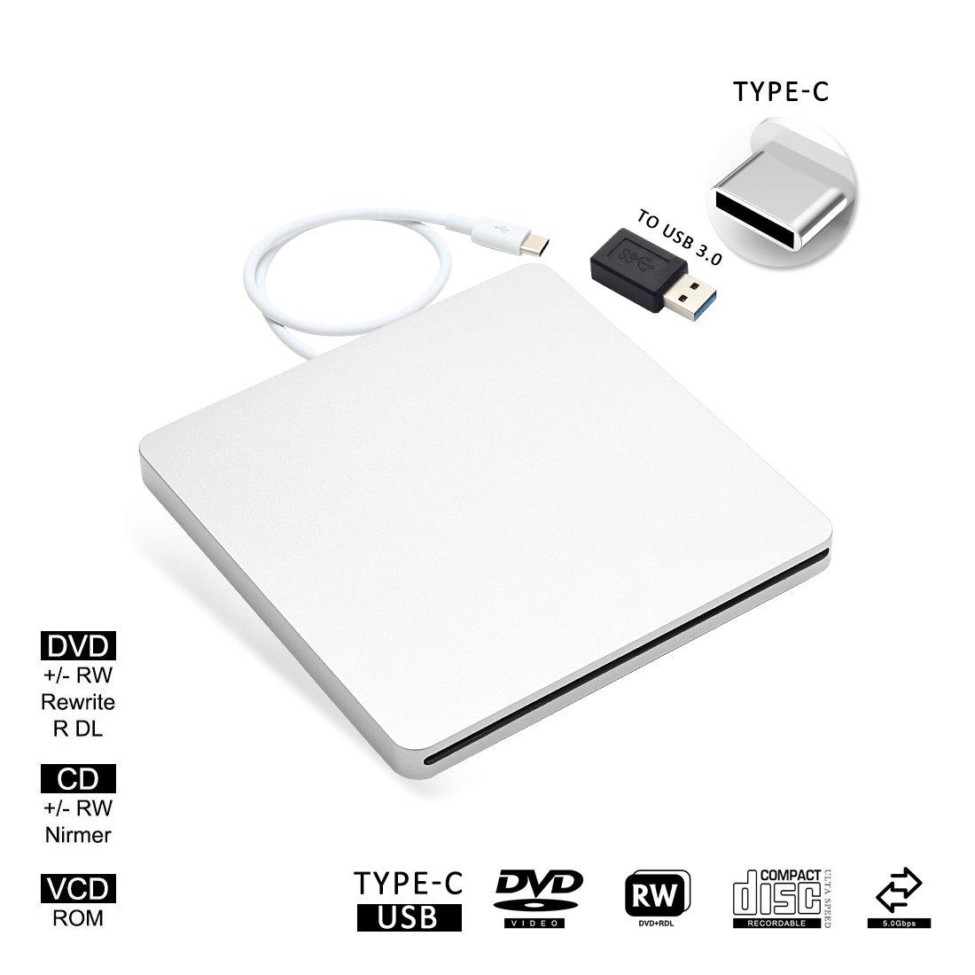 USB-C Superdrive External Drive Burner DVD CD VCD Reader +/- RW Rewriter/Writer/Player with High Speed Data for latest Mac/MacBook Pro/Laptop/Desktop Support Windows/Mac OSX (silver)