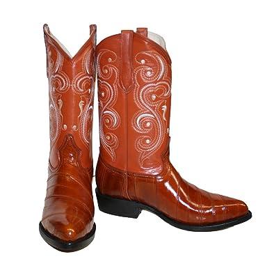74c7c86a979 Men Genuine EEL Skin Cowboy Western j Toe Leather Boots