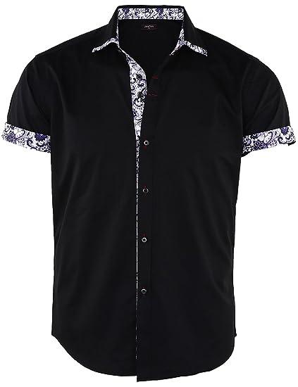 027129a56b7 JEETOO Men s Short Sleeve Shirts Floral Print Dress Shirt Button Down  Summer Casual Shirt(Black