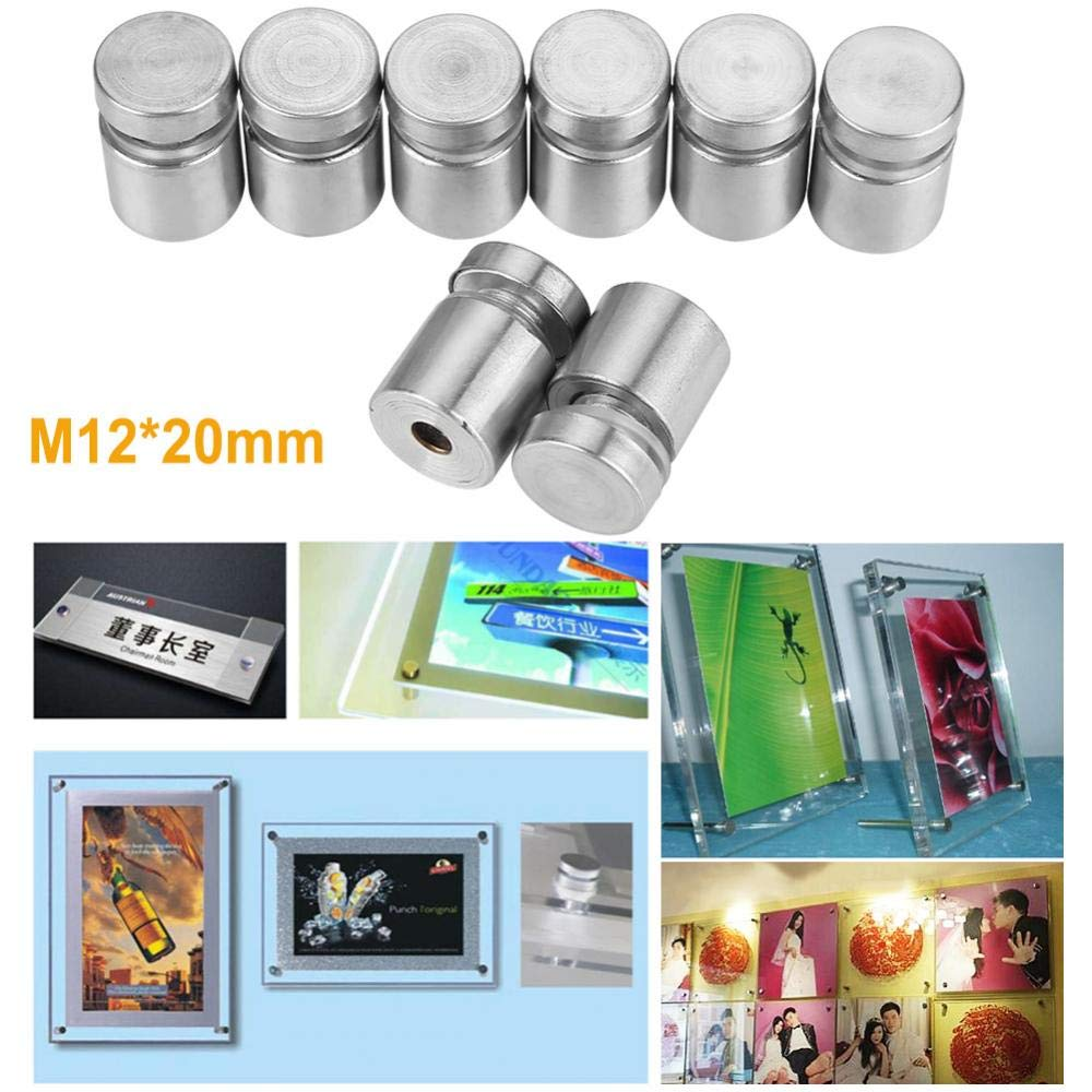 Etc. Show Shelf Advertise Fixing Pin,Glass Standoff Mounting Bolt,20Pcs M1220Mm Stainless Steel,for Fixing and Supporting Glass Advertise Board Mirror Shop Sign