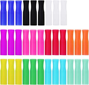 33Pcs Reusable Straws Tips, Silicone Straw Tips, Multi-color Food Grade Straws Tips Covers Only Fit for 1/4 Inch Wide(6MM Out diameter) Stainless Steel Straws by Accmor
