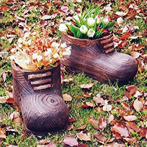 GNOME SHOE - Solid Wood Garden Flower Planter / Pot - Burntwood