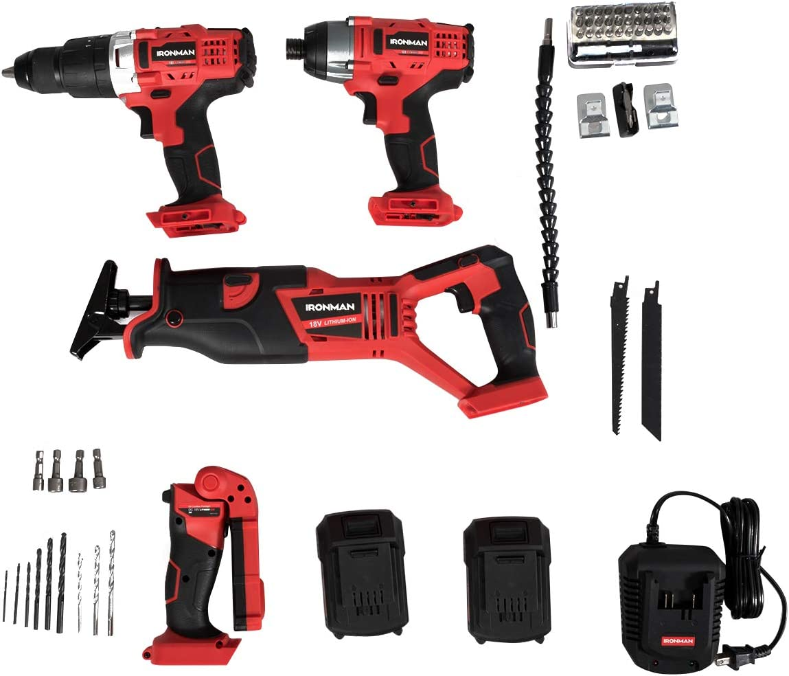 Goplus 4-Tool Combo Kit, 18V Lithium-Ion 1 2 Cordless Drill Driver, 1 4 Impact Driver, Reciprocating Saw and LED Flashlight, Suitable for Wood, Tile, Steel and Brick Wall