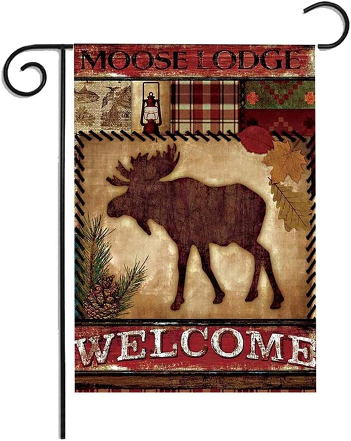 Eleroye 12 x 18 Inches Seasonal Garden Flag Moose Lodge Checks Brown Double Sided Vibrant Printing on Both Sides Decorative House Yard Flag Garden Outdoor Decoration