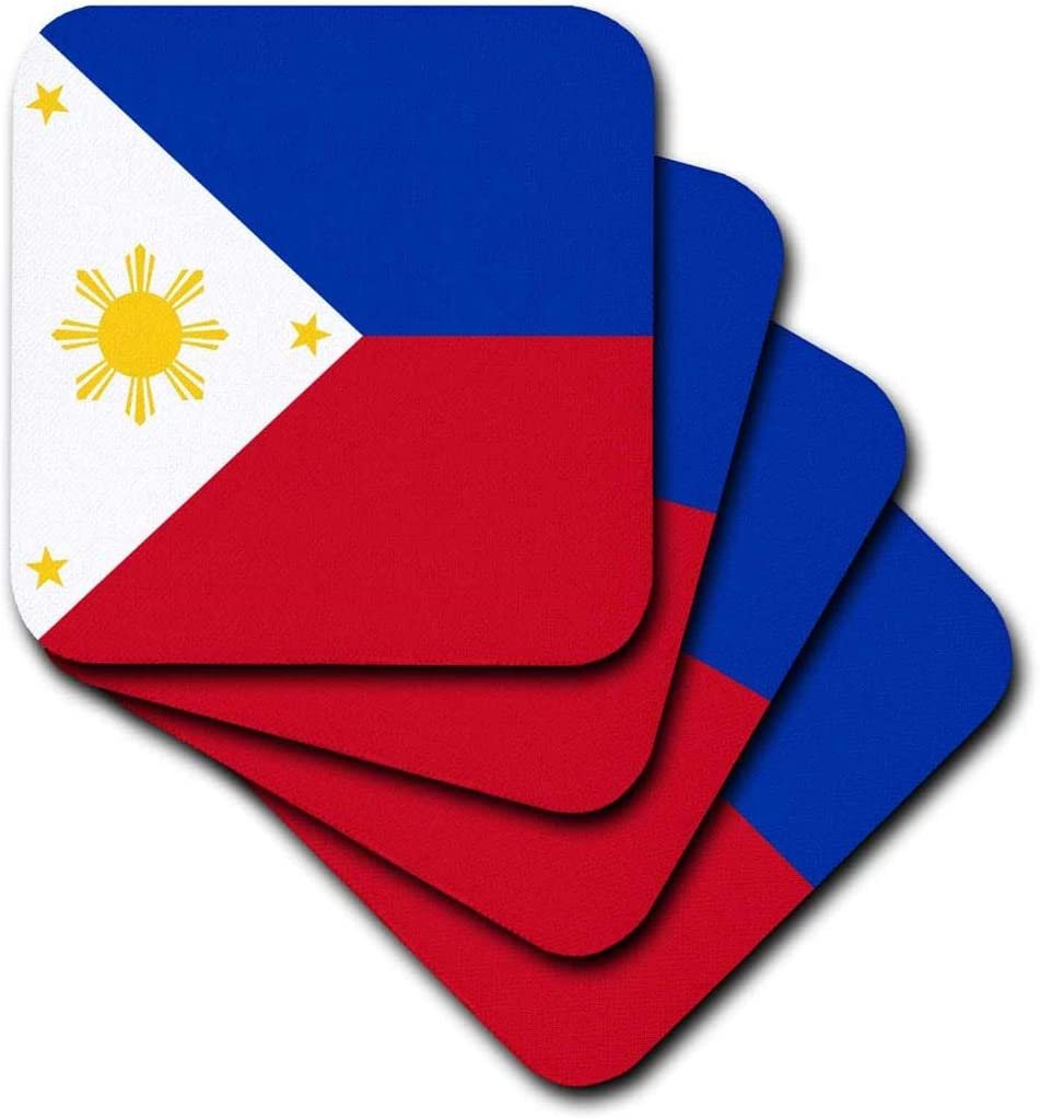 3dRose Flag of The Philippines Filipino Blue red White with Golden Yellow Sun and Stars Pambansang Watawat-Soft Coasters, Set of 8 (CST_159807_2)