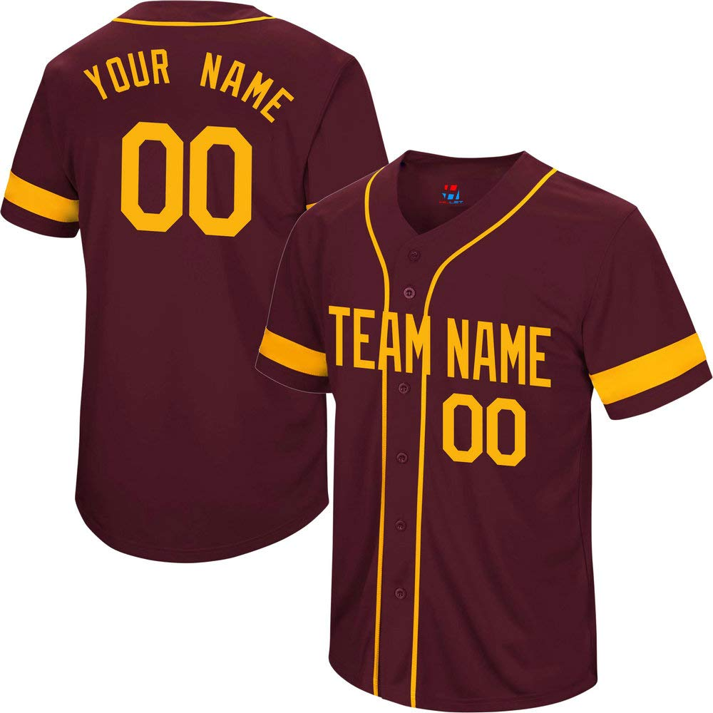 Pullonsy College Maroon Men's Custom Baseball Jersey Big and Tall Embroidered Your Name & Numbers,Yellow Size 6XL by Pullonsy