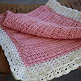 Cro-Kits Silky Soft Pink and White Baby Blanket Crochet Kit Complete with Yarn, Crochet Hook, Weaving Needle and Easy to Follow Pattern