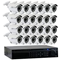 GW Security 32-Channel HD-TVI 1080P Security System with (24) x True HD 1080P Outdoor / Indoor Bullet Security Cameras and 6TB Hard Drive, QR Code Scan Free Remote View