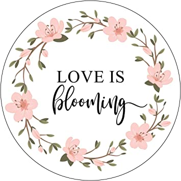 Amazon Com Love Is Blooming Stickers Pink Wreath Flowers